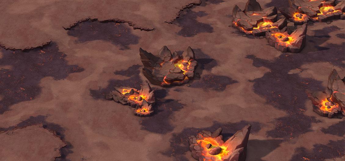 荒原岩石融化火山喷发